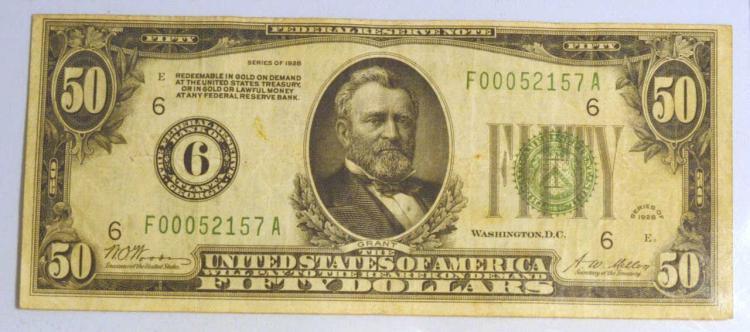 1928 $50 Federal Reserve Note Atlanta, GA Fine