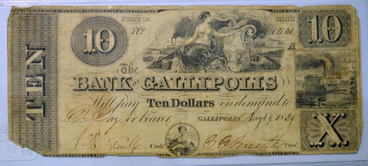 1839 $10 State of OH Gallipolis Obsolete Bank Note