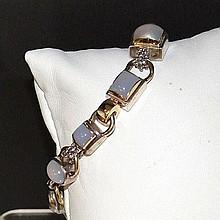 Sterling & 14k Moonstone Bracelet Michael Dawkins