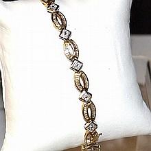 14k 2tone Baguette Diamond Bracelet 3.85ctw