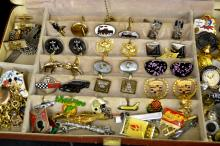 Lot of Cufflinks, Lapel Pins & Tie Clips
