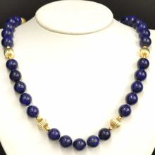Lapis Bead Necklace with Matching Earrings