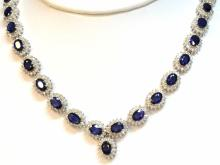 14kwg Blue Sapphire & Diamond Necklace 30ctw