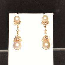 14kyg Pearl & Diamond Drop Earrings