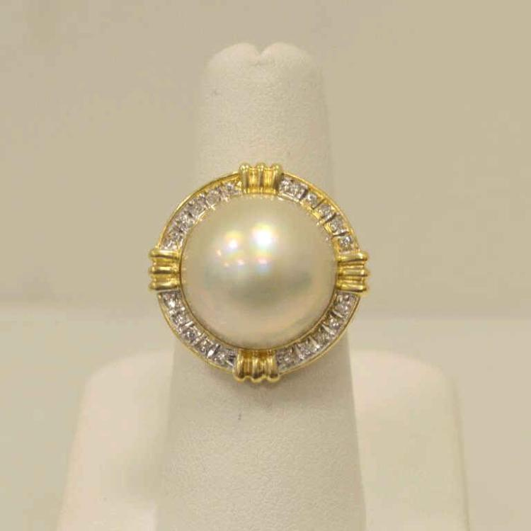 14kt yellow gold mabe pearl and diamond ring for Gulf coast coin and jewelry