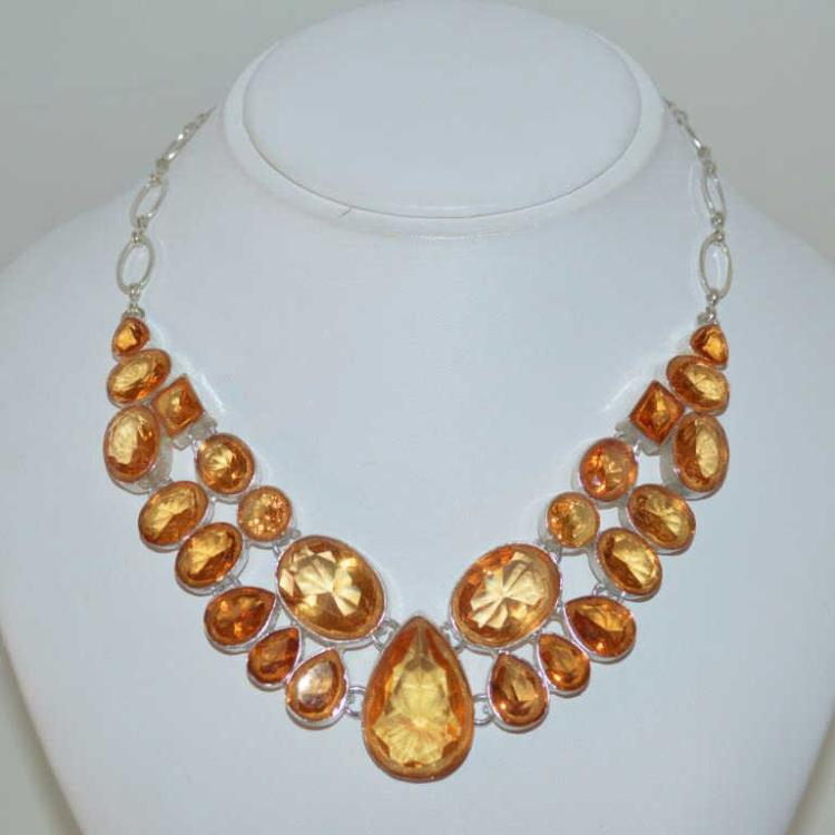 Silver plate golden orange citrine bib necklace for Gulf coast coin and jewelry