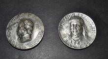 2 Silver Medals Ben Franklin, Edgar Allen Poe