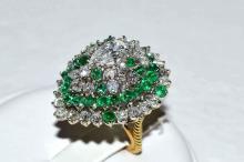 18k Emerald & Diamond Cocktail Ring