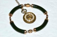 14kyg Jade Bracelet & Pocket Watch
