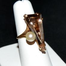 14kyg Smoky Quartz and Pearl Ring