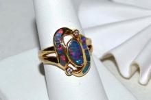 14kyg Opal & Diamond Ring