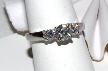 Platinum 3 Stone Diamond Ring .95ctw