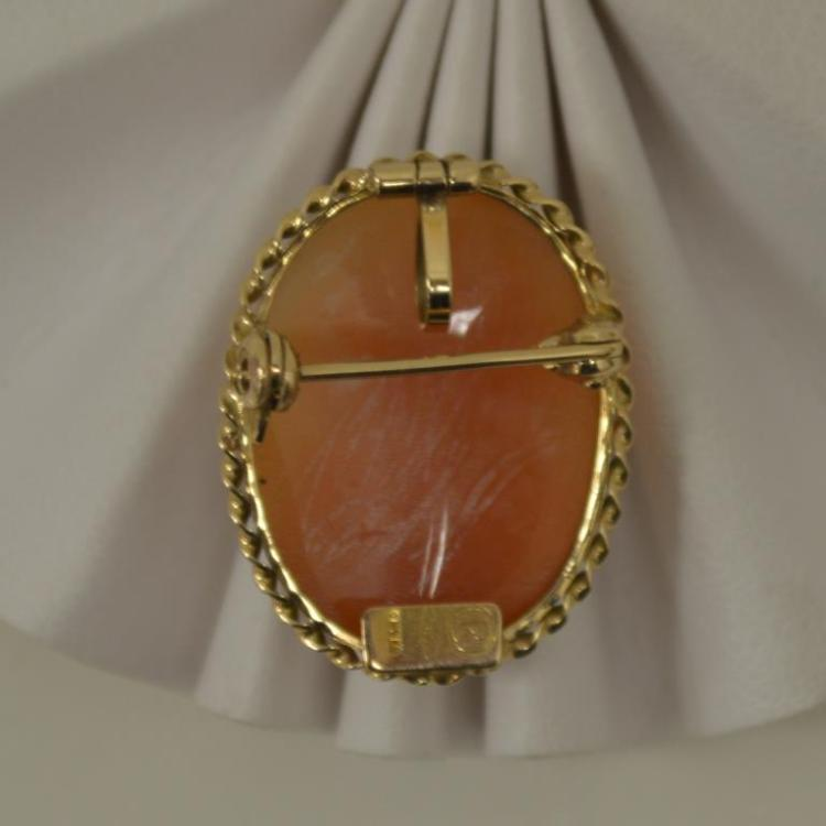 14kt yellow gold cameo pendant pin for Gulf coast coin and jewelry