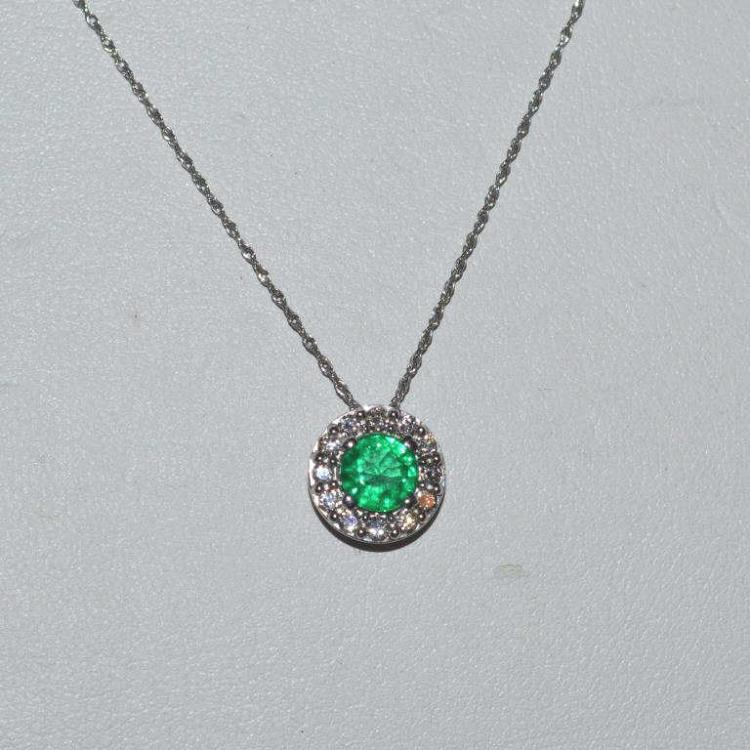 14kt white gold emerald and diamond necklace for Gulf coast coin and jewelry