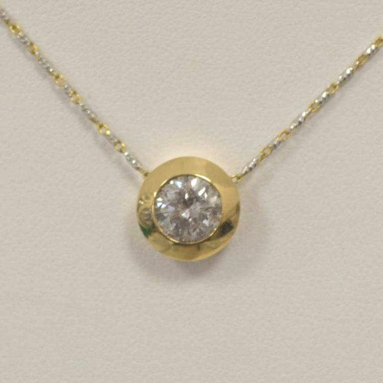 Bezel set diamond solitaire pendant for Gulf coast coin and jewelry