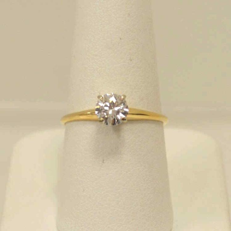 14kt yellow gold diamond solitaire ring for Gulf coast coin and jewelry