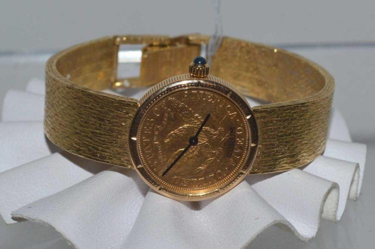 Ladies 18kt yellow gold corum watch for Gulf coast coin and jewelry