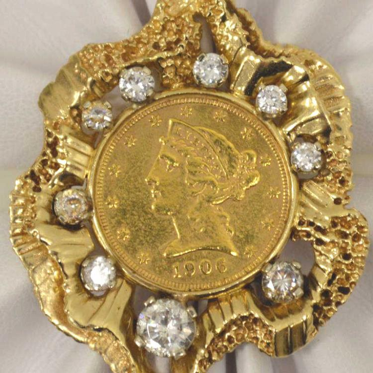 Gold liberty coin pendant for Gulf coast coin and jewelry