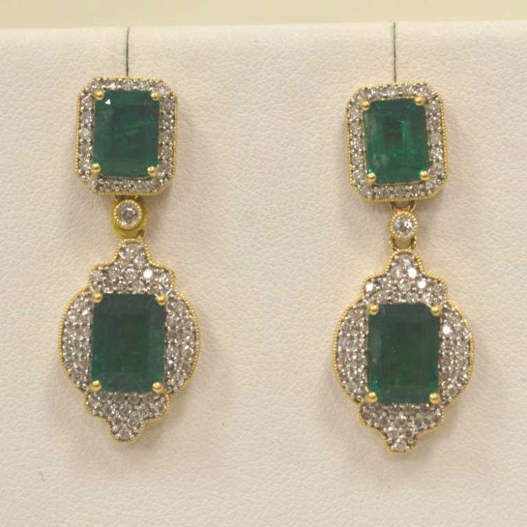 Emerald and diamond dangle earrings for Gulf coast coin and jewelry