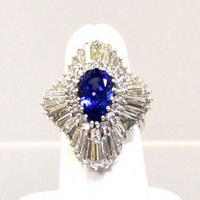 Tanzanite & Diamond Ballerina Ring in Platinum