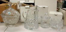 Crystal Cookie Jar, Pitcher, Bowl, Cov'd Candy