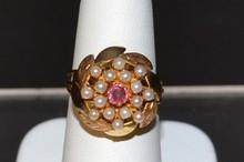 18kyg Pink Tourmaline & Pearl Ring