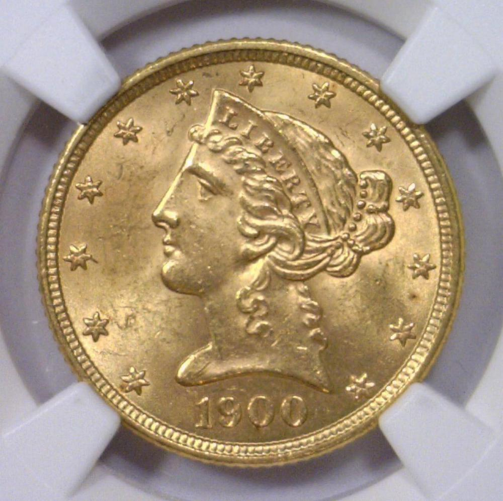 1900 5 liberty head gold half eagle ngc ms63 for Gulf coast coin and jewelry