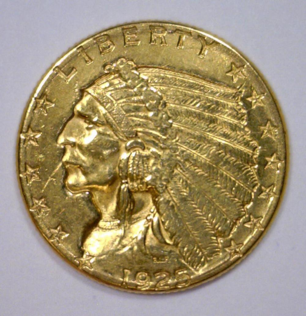 1925 2 5 indian gold quarter eagle vf polished for Gulf coast coin and jewelry
