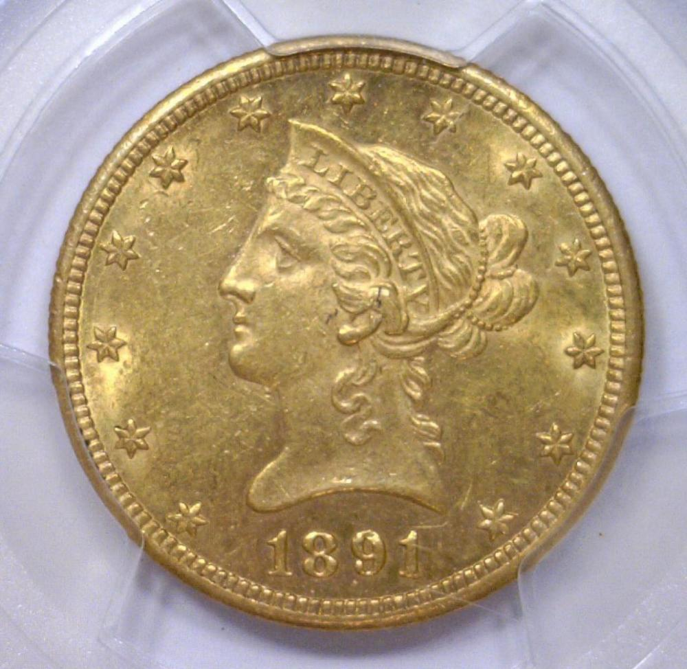 1891 cc 10 liberty gold eagle pcgs ms61 for Gulf coast coin and jewelry