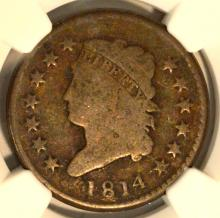 1814 Plain 4 Classic Head Lg Cent S-295 NGC G 4 BN