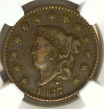 1827 Coronet Head Large Cent NGC VF 25 BN