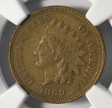 1869 Indian Head Cent NGC AU Details
