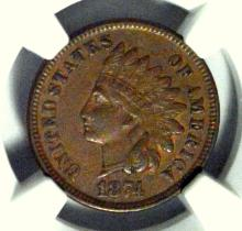 1874 Indian Head Cent NGC XF 45 BN