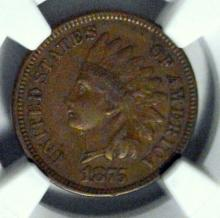 1875 Indian Head Cent NGC XF 45 BN