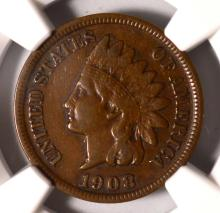 1908-S Indian Head Cent NGC VF 30 BN