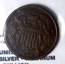 1864 Two-Cent Piece XF+