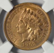 1909 Indian Head Cent NGC UNC Details OBV I/C