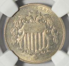 1866 Rays Shield Nickel NGC MS 61