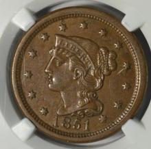 1851 Liberty Head Large Cent NGC MS 61 BN