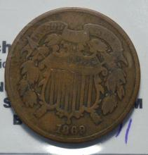 1869 Two-Cent Piece VG