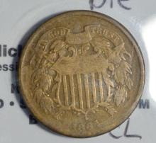 1864 Rotated Die Two-Cent Piece VG