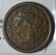 1853 Braided Hair Large Cent VF