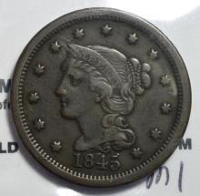 1845 Braided Hair Large Cent Fine