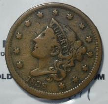 1838 Coronet Head Large Cent VG