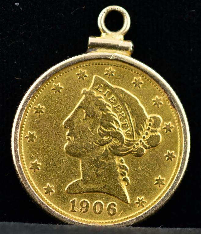 1906 5 liberty head gold half eagle in 14k bezel for Gulf coast coin and jewelry