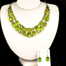 Sterling Peridot Necklace & Earrings