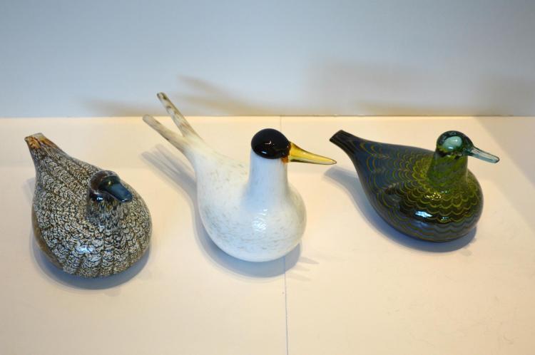 Three Ittala Glass Birds