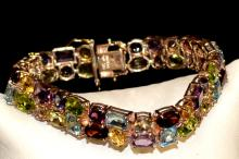 Sterling Colored Stone Bracelet