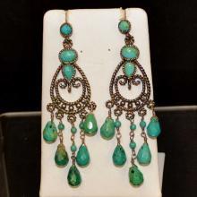 Sterling Turquoise Chandelier Earrings