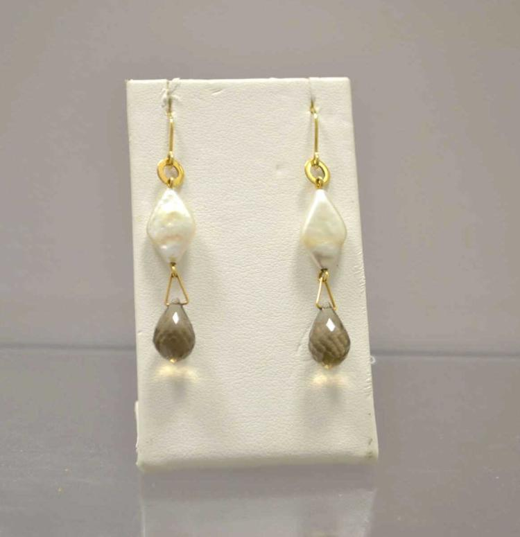 Pearl and quartz earrings by nancy b for Nancy b fine jewelry